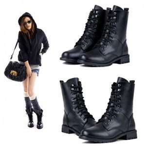 BOTTINE Bottes femmes Style punk et armée militaire noir C