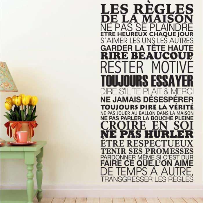 sticker mural les r gles de la maison 61x120 cm couleur noir achat vente stickers cdiscount. Black Bedroom Furniture Sets. Home Design Ideas