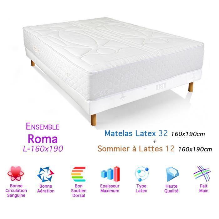 Ensemble roma matelas latex sommier 32 12 160x190cm achat vente ensembl - Ensemble matelas sommier 160 ...