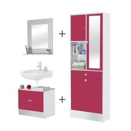 Ensemble meubles salle de bain coloris blanc et fuchsia - Ensemble meuble salle de bain ...