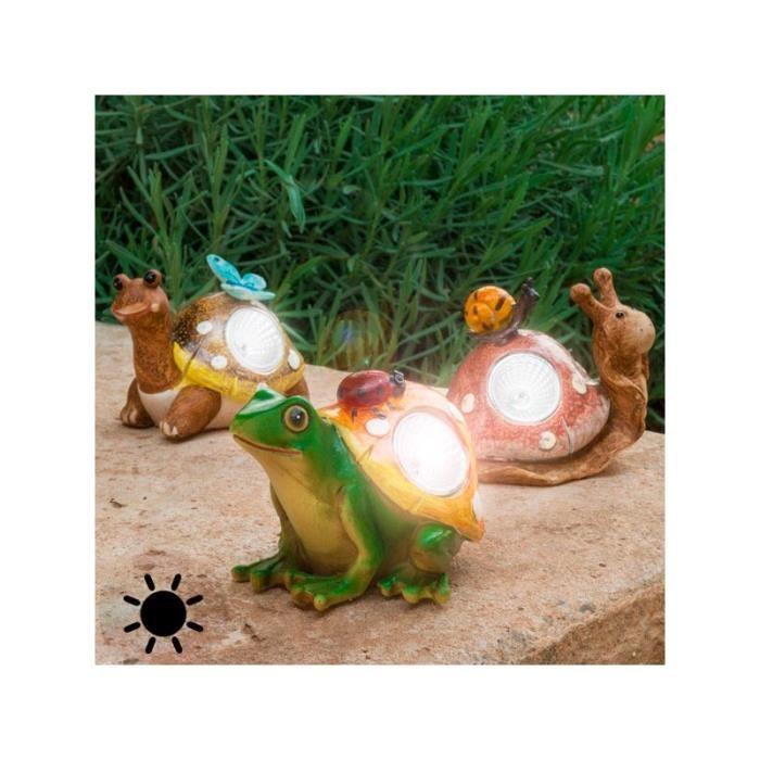Figurine solaire d corative de jardin grenouille - Figurine de jardin ...