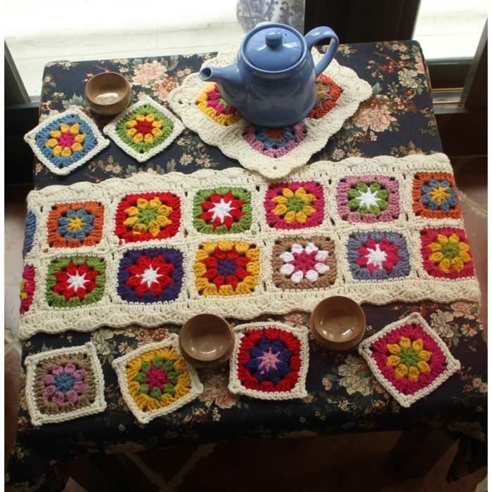 chemin de table fleurs color es faux laine tricoter crochet 8 pieces 1 chemin de table 1 dessous. Black Bedroom Furniture Sets. Home Design Ideas