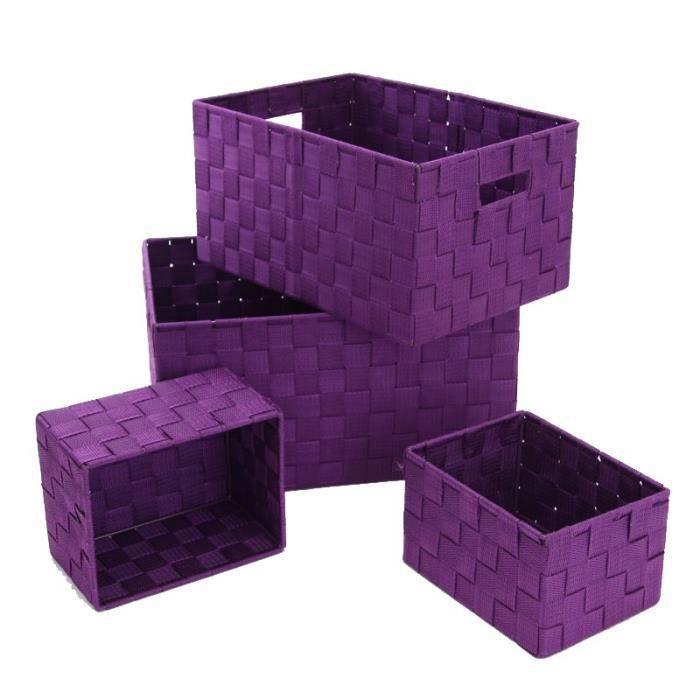 Paris prix set de 4 paniers de rangement violet achat for Panier de rangement salle de bain