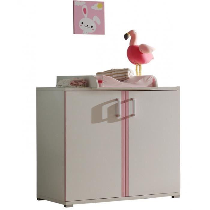 Commode avec table langer rosi9 blanc et rose rose - Commode avec table a langer ...