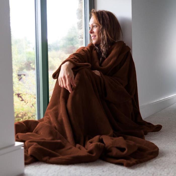 Snug rug deluxe chocolat achat vente couverture - Couverture polaire avec manches ...