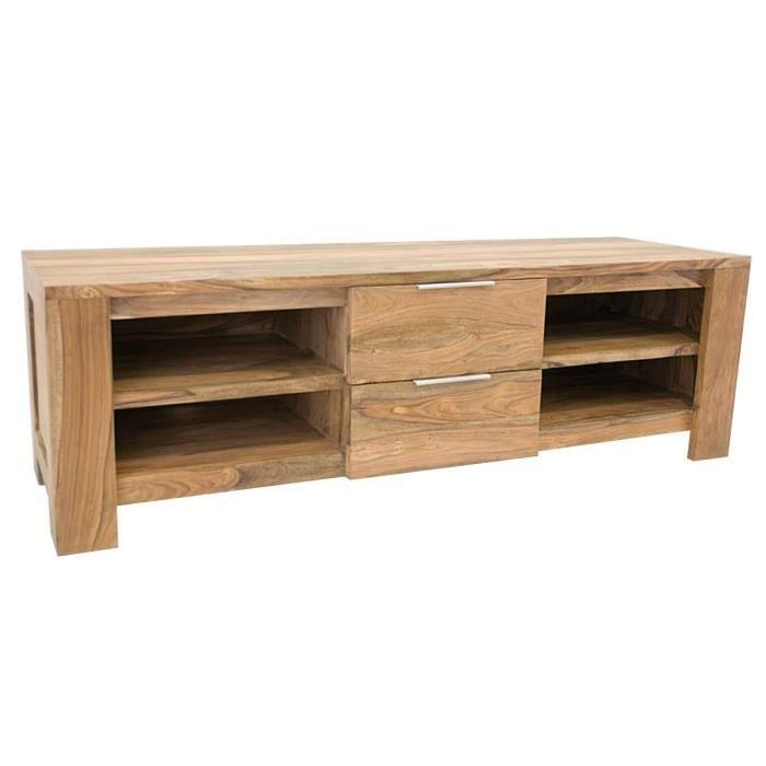 Meuble t l en palissandre massif 174x55x55cm n achat vente meuble tv me - Meuble tele discount ...