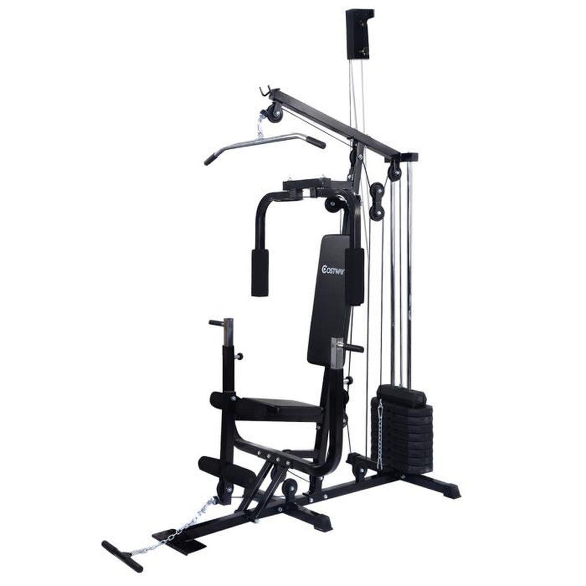 station de musculation multi gym entra nement execices appareil de fitness prix pas cher. Black Bedroom Furniture Sets. Home Design Ideas