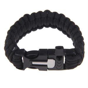 OUTILLAGE DE CAMPING Bracelet Survie Paracorde  Parachute Noir