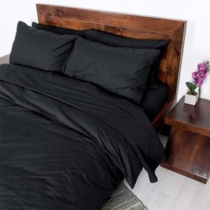 parure de lit noir achat vente parure de lit noir pas cher cdiscount. Black Bedroom Furniture Sets. Home Design Ideas