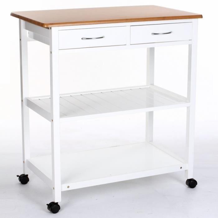 Desserte de cuisine avec roulettes 2 tiroirs et 2 for Petit meuble de cuisine avec tiroir