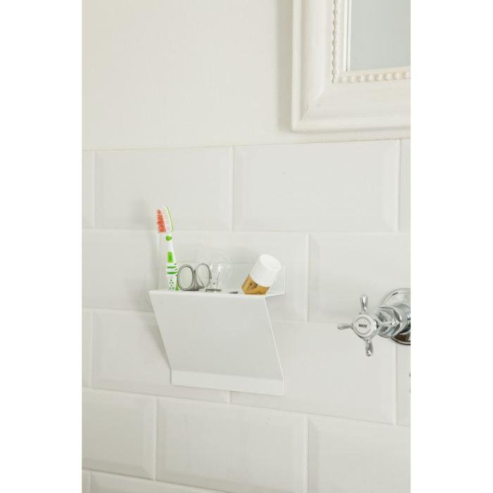 Rangement salle de bain line up couleur blanc achat vente porte accessoire cdiscount for Salle de bain rangement