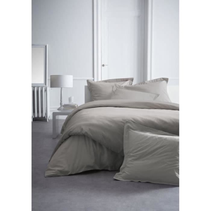 Housse de couette percale 240x260 mastic 2 taies 1 - Housse couette percale ...