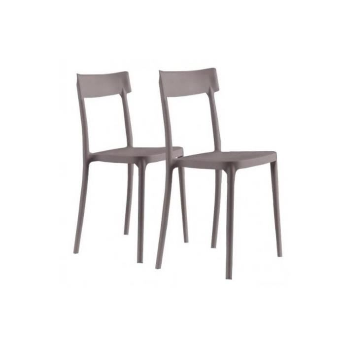 Lot de 2 chaises corsocomo empilables taupes achat for Lot 4 chaises taupe