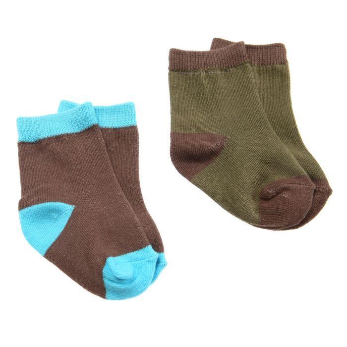 pick ouic lot de 2 paires de chaussettes b b marron et vert achat vente chaussettes pick. Black Bedroom Furniture Sets. Home Design Ideas