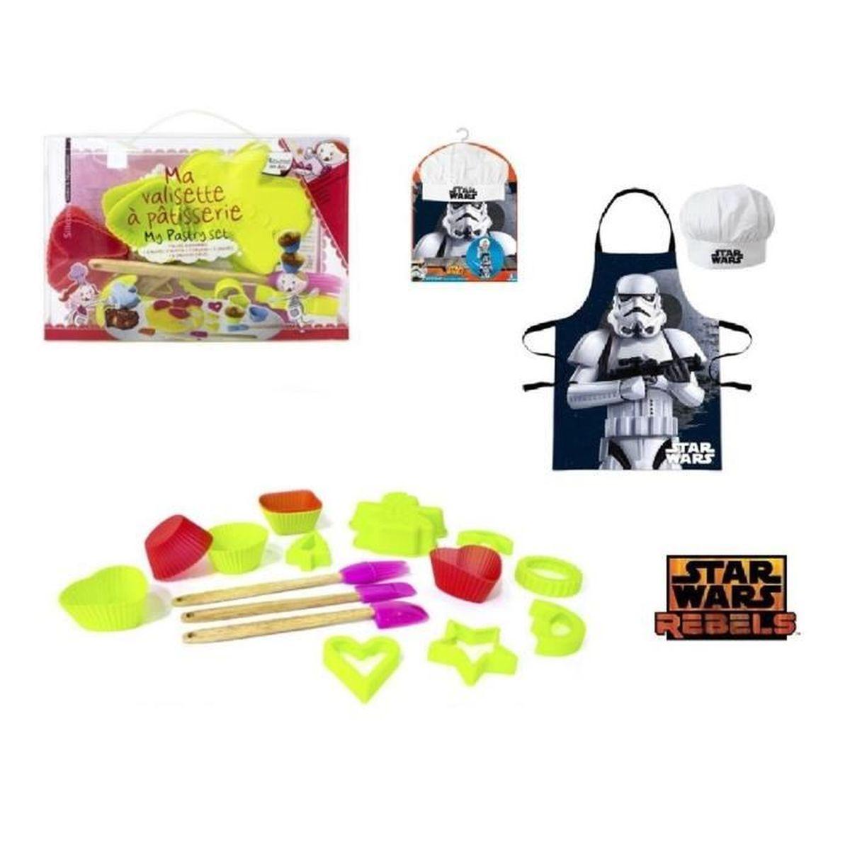 Set p tisserie enfant 16 pieces en silicone et tablier for Tablier de cuisine star wars