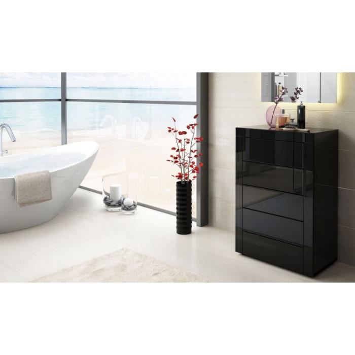 Commode design enti rement laqu e noire achat vente for Commode chambre adulte design