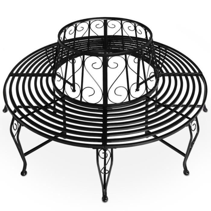 banc d 39 39 arbre banc de jardin rond circulaire diam tre 160cm m tal poudr noir achat. Black Bedroom Furniture Sets. Home Design Ideas
