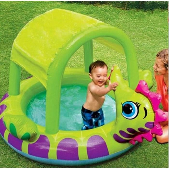 Piscine gonflable soleil ombrage piscine pataugeoire b b for Piscine a balle bebe