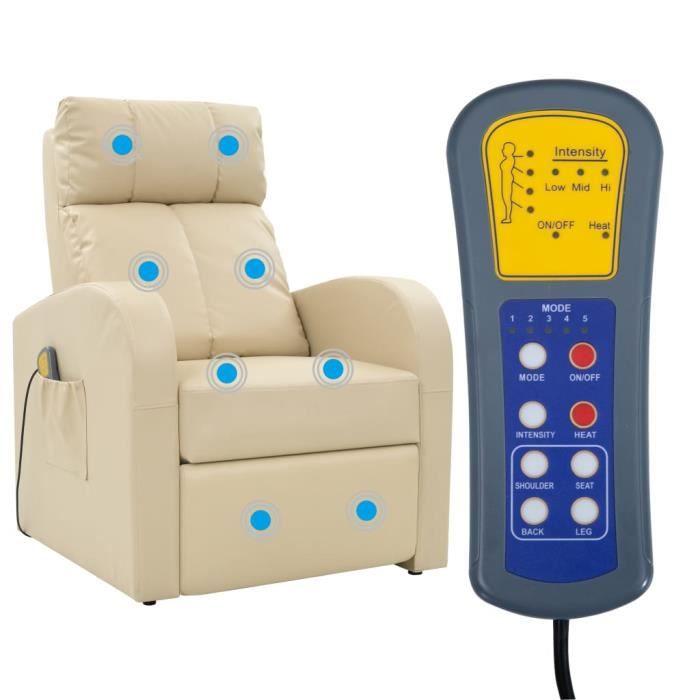 Fauteuil confort massant blanc cr me achat vente appareil de massage so - Fauteuil massant occasion ...