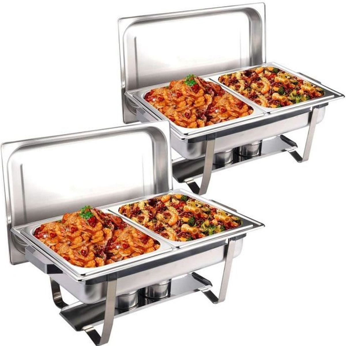 Set 2 x chafing dish professionnel r chaud dish inox repas for Table cuisine inox professionnelle