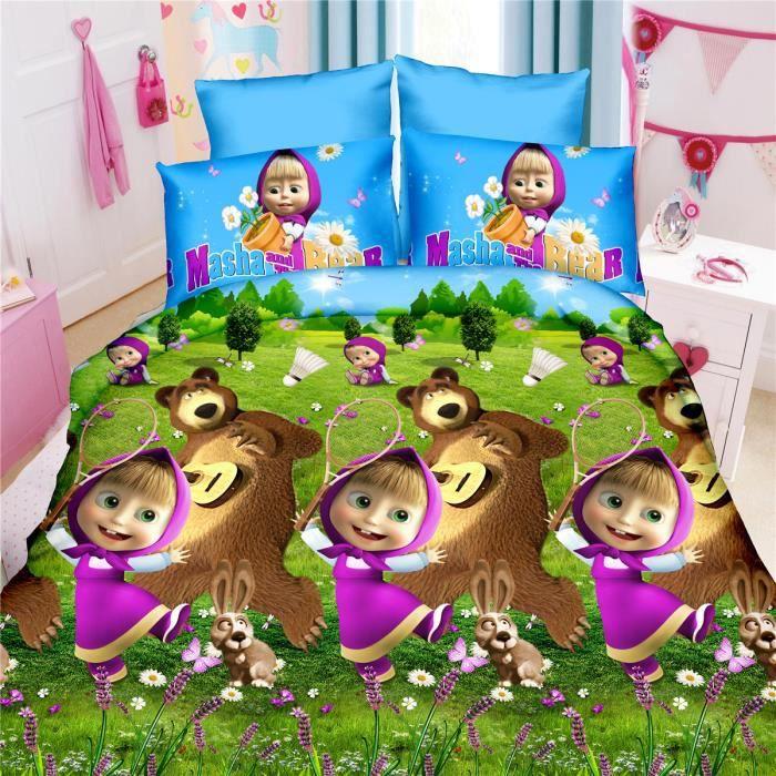 L m fille avec ours motif parure de couette parure de lit - Housse de couette fille 220x240 ...