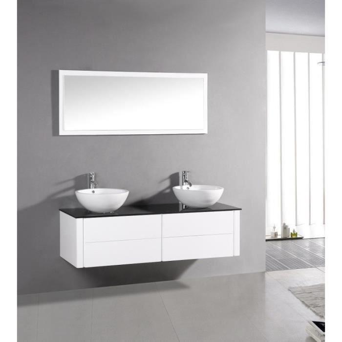 Flow blanc ensemble salle de bain meuble 2 vasques 1 miroir achat ve - Double vasque salle de bain ...