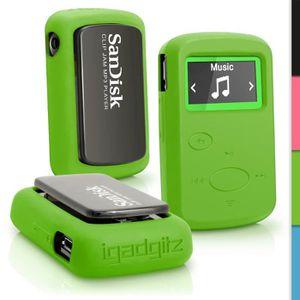 COQUE MP3-MP4 igadgitz Vert Étui Housse Silicone pour Sandisk Sa