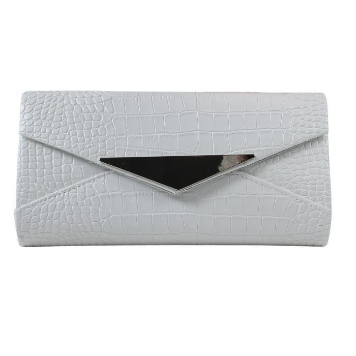 Sac A Main Blanc Pochette : Pochette mini sac ? main blanc croco uni vernis