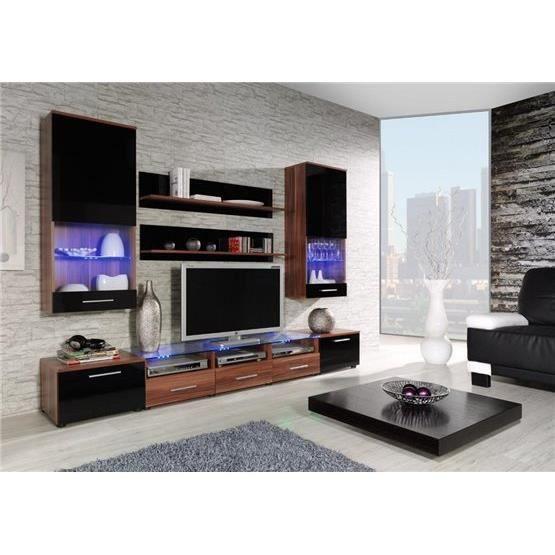 ensemble meubles tv design cimi 2 bois et noir composition bois laqu achat vente meuble. Black Bedroom Furniture Sets. Home Design Ideas