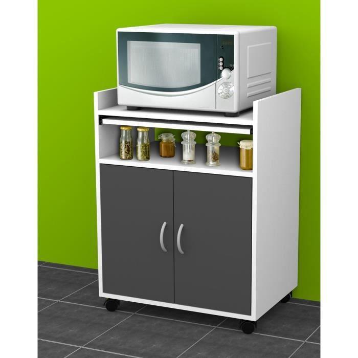 Karl meuble micro ondes 59x40cm blanc portes grises - Meuble micro onde noir ...