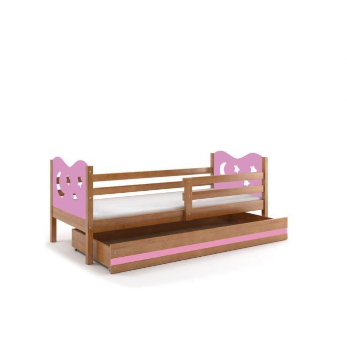 lit enfant max 190x90 aulne toiles roses sans matelas. Black Bedroom Furniture Sets. Home Design Ideas