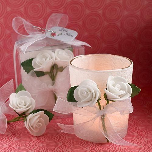 Photophore bougie rose blanche d co mariage achat vente bougie d corative les soldes sur - Soldes decoration mariage ...