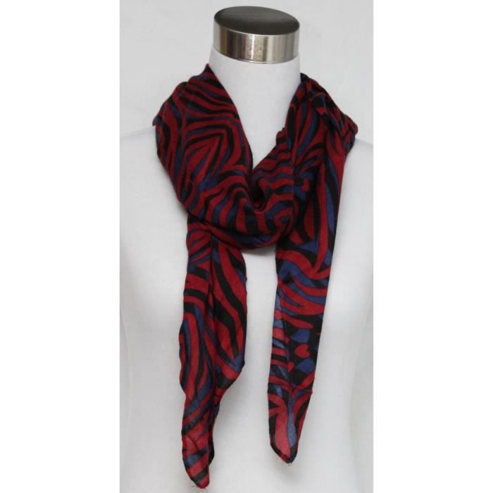 foulard femme z br rouge et noir polyester rouge achat vente echarpe foulard. Black Bedroom Furniture Sets. Home Design Ideas