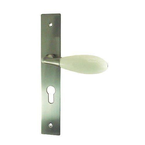 Dt 2000 354335 demi poign e de porte sur plaque ovalie for Poignee de porte porcelaine