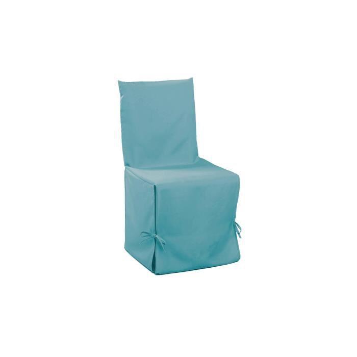 Housse de chaise turquoise nouettes achat vente for Housse de chaise turquoise