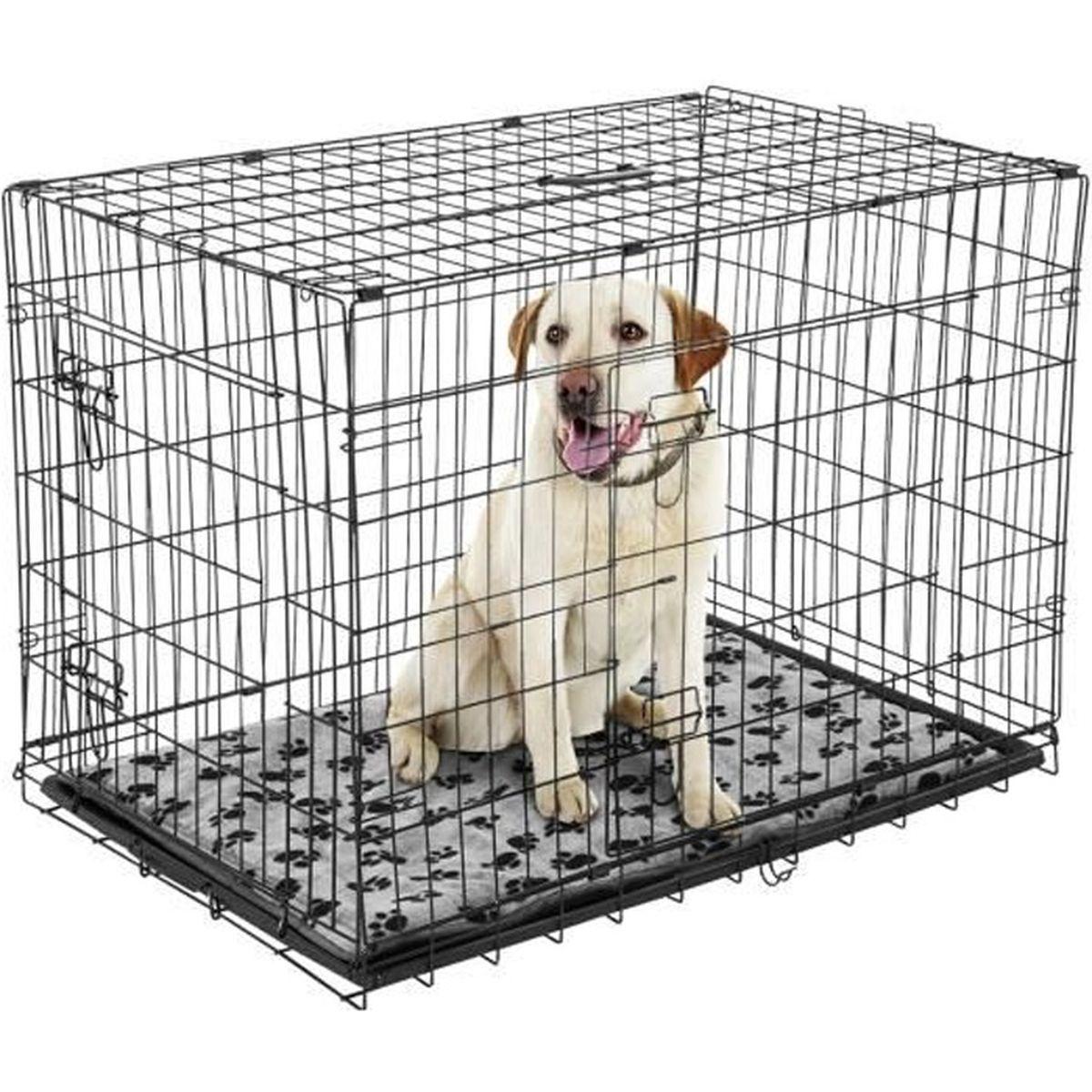 cage caisse de transport chien pliable fil d acier 2. Black Bedroom Furniture Sets. Home Design Ideas