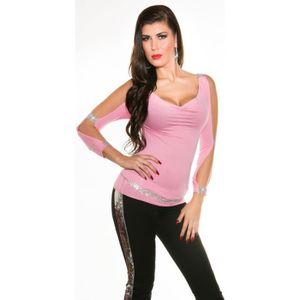 T-SHIRT t shirt femme bras ouvert avec strass rose pale