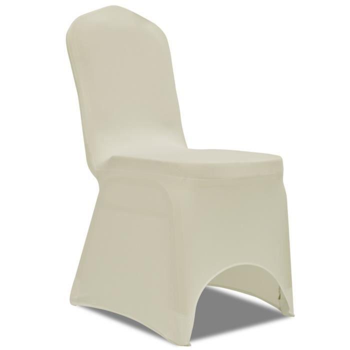Magnifique housse creme extensible pour chaise 6 pieces for Housse de chaise beige