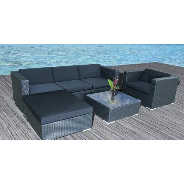 magnifique salon de jardin en resine tressee malaga poly rotin noir achat vente salon de. Black Bedroom Furniture Sets. Home Design Ideas