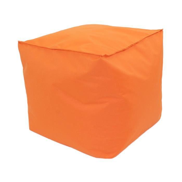 Pouf cube int rieur ext rieur 40x40x40cm orange achat - Pouf poire exterieur ...