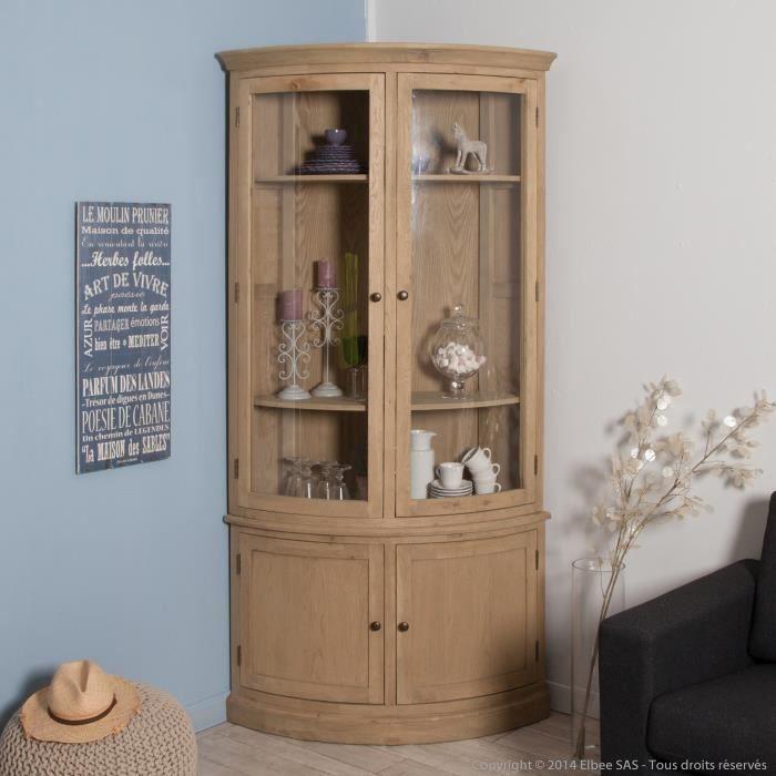 vitrine d 39 angle en ch ne avec 2 portes longueur 110cm. Black Bedroom Furniture Sets. Home Design Ideas