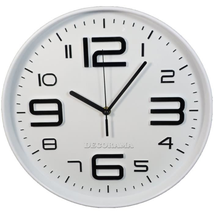 horloge pendule murale silencieuse blanc achat vente horloge cdiscount. Black Bedroom Furniture Sets. Home Design Ideas