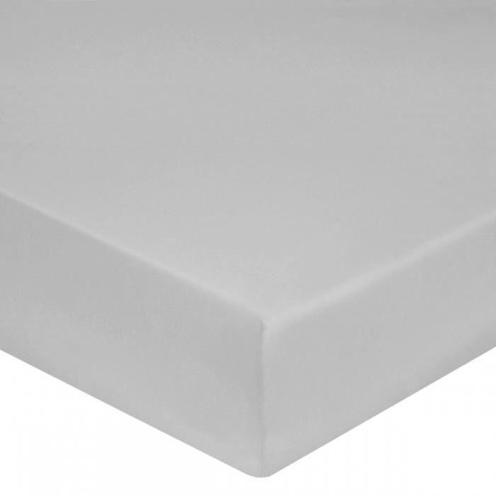 drap housse satin de coton gris perle 160x200 40 gris perle achat vente drap housse. Black Bedroom Furniture Sets. Home Design Ideas