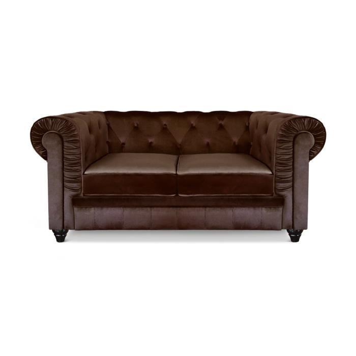 canap chesterfield 2 places velours marron achat vente canap sofa divan velours bois. Black Bedroom Furniture Sets. Home Design Ideas