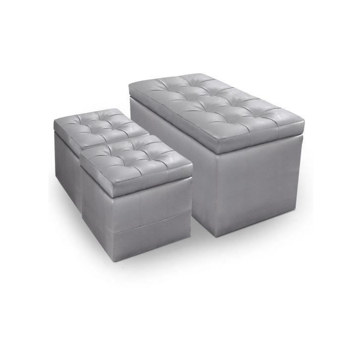 banquette coffre 2 poufs pu capitonn argent kapi achat vente banquette pu cuir cdiscount. Black Bedroom Furniture Sets. Home Design Ideas