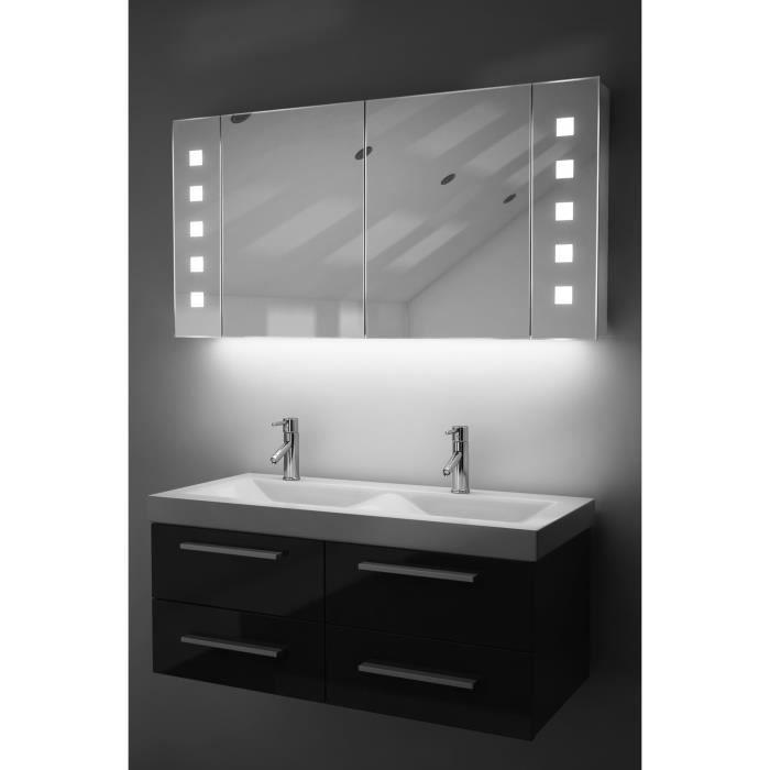miroir de salle de bain avec capteur et prise rasoir interne k123w blanc taille l 600mm x l. Black Bedroom Furniture Sets. Home Design Ideas