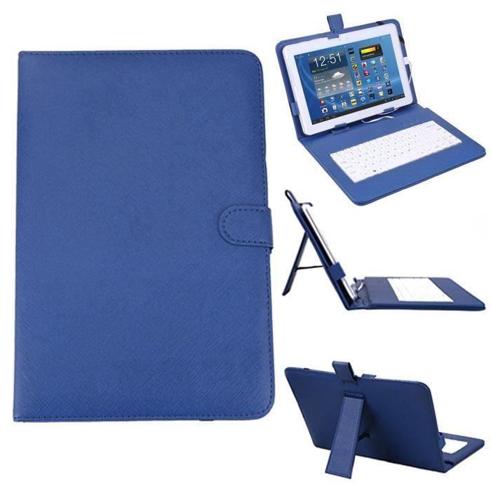 housse clavier 10 pouces azerty micro usb bleu prix pas. Black Bedroom Furniture Sets. Home Design Ideas