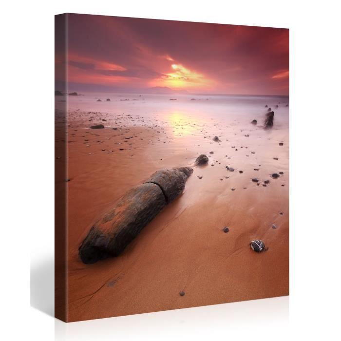 Tableau sur toile ciel en feu 80x80cm achat vente for Tableau photo sur toile