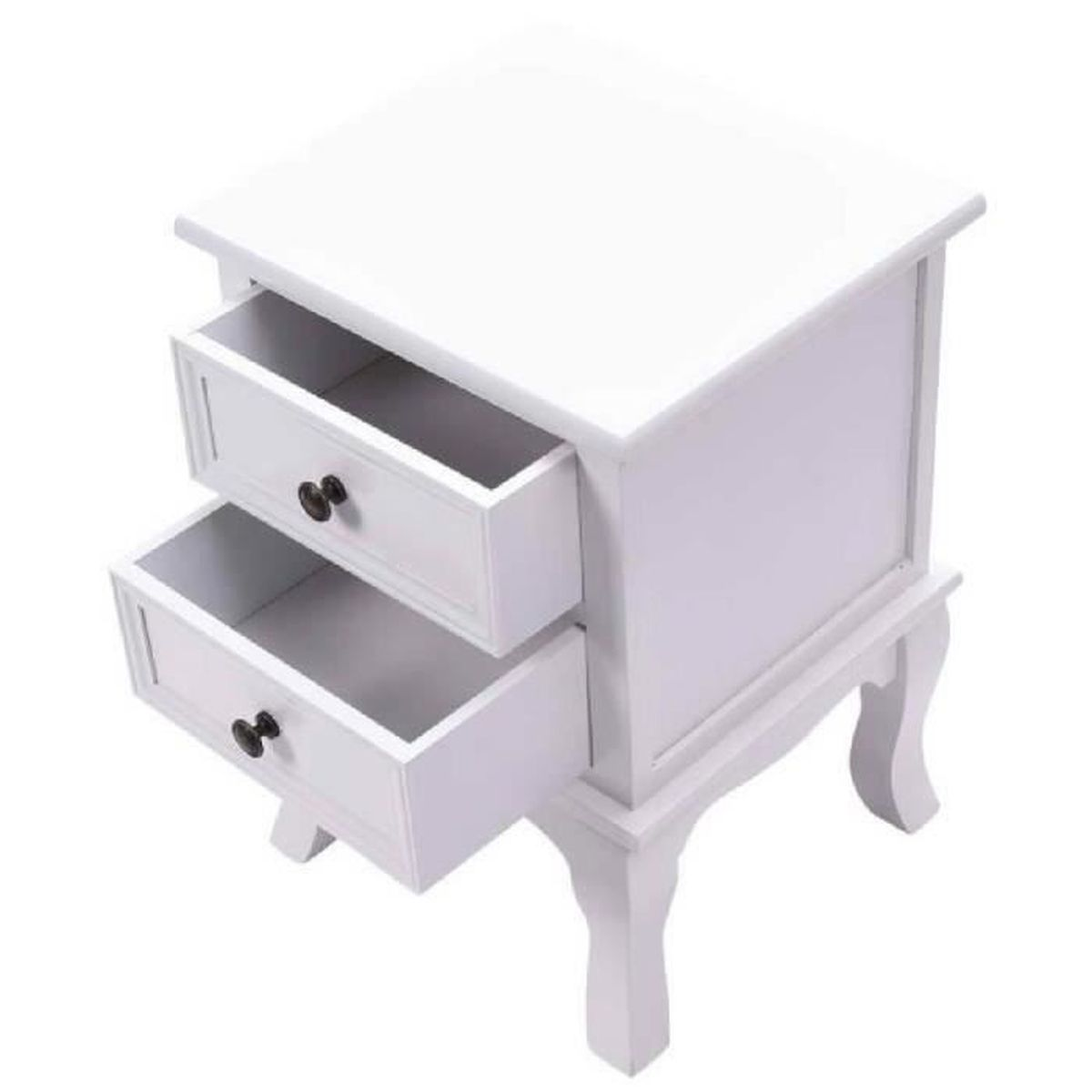 table de chevet commode meuble chambre coucher 2 tiroirs table de nuit blanc achat vente. Black Bedroom Furniture Sets. Home Design Ideas