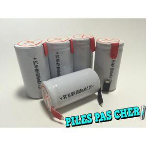 5 piles accus sub c nimh rechargeable 1 2v 6000mah languette patte batteries achat vente. Black Bedroom Furniture Sets. Home Design Ideas